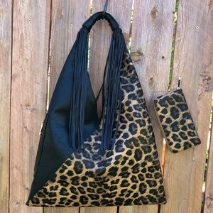 Oversized Cheetah and Fringe Purse & Wallet
